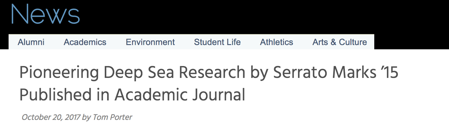 "headline of Bowdoin News piece, which reads ""Pioneering deep sea research by Serrato Marks '15 Published in Academic Journal"""